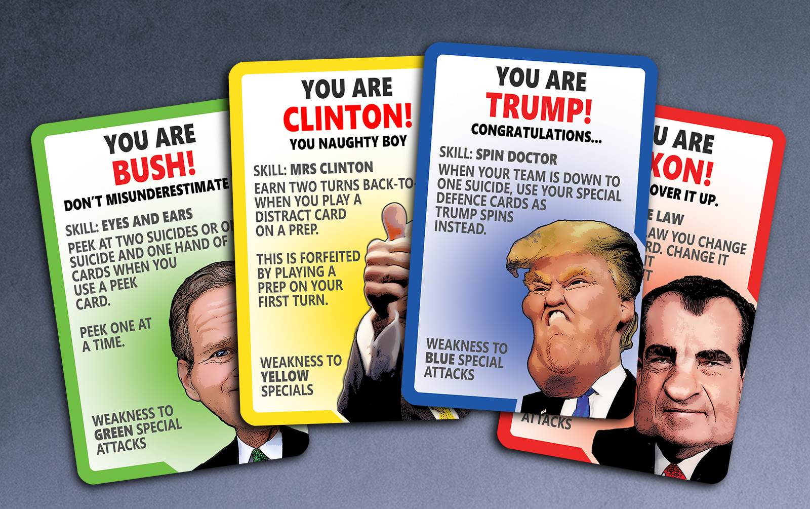 Political Suicide Card Game Cards